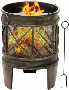 Outdoor Fire Pit for Garden 23 Inch Barrel Fire Bowl with Spark Screen and Poker