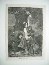 Gravure 1861 Filles d/'Eve d/'après tableau de Antigna