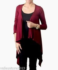 RX1 Burgundy Red Open Drapped Thin Dress Cover Up Top Cardigan Shawl XS S M L