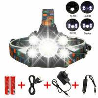 Stirnlampe USB 90000LM 5X XM-L T6 LED Kopflampe 18650 2x AKKU Fackel Taschenlamp