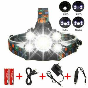 Stirnlampe USB 90000LM 5X XM-L T6 LED Kopflampe Lampe 2x AKKU Fackel Taschenlamp