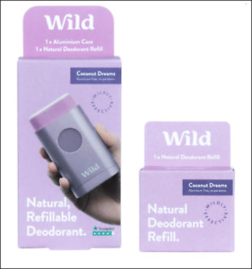 Wild Natural Aluminium Case & 2 Natural Deodorant Refills. Coconut Dreams