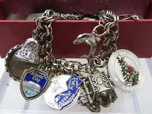 Vintage Italian Charm Bracelet Sterling~21 Charms-Most are Sterling