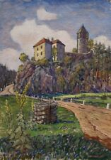 Painting Oil Castle Pirkstejn Czechoslovakia Czech Rataje Sazava Saaz Bohemia