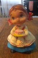 "Vintage Josef Originals JAPAN ""Wee Folks"" Ceramic Girl with Cake"