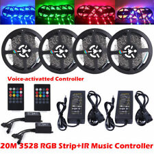 20M 12V 3528 RGB LED Strip Lights Tape + Remote Music Controller IR + 12V Power