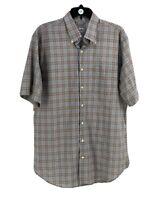 Peter Millar Men's Blue 100% Cotton Plaid Print Button-Down Shirt Size Large
