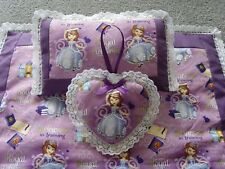 Handmade Dolls Bedding Pram  Blanket Quilt,Pillow & Heart set-Sofia The First