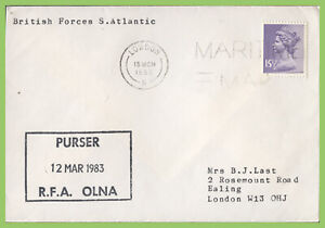 G.B. 1983 H.M. Forces S. Atlantic, Maritime Mail, Purser RFA Olna Ship cachet