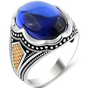 Solid 925 Sterling Silver Oval Blue Zircon Stone Men's Ring