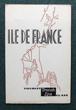 FRENCH LINE CGT SS ILLE DE FRANCE TOURIST CLASS ART DECO BROCHURE APRIL 1937