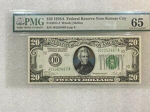 VERY SCARCE 1928 A  $20 FRN Kansas City Woods / Mellon  PMG 65 Gem Uncirculated