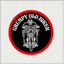 "GRUMPY OLD BIKER 4"" BIKER BADGE PRINTED SEW ON CLOTH BADGE"
