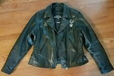 Womans Thinsulat Black Leather Gallery Motorcycle Jacket Size Large Harley Patch