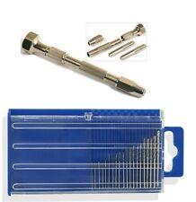 20PC Micro HSS Twist Drills & Pro Swivel Head Pin Vice Jewellers Watch Makers