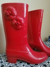 Chanel Camellia Rain Boots RED Size 41