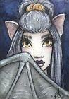 "ACEO Original Fantasy Sketch FoGG art atc card 2.5 x 3.5 Drawloween ""Winged"""