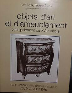 1979 Catalogue de vente Illustré DROUOT OBJETS D'ART ET D'AMEUBLEMENTXVIIIè