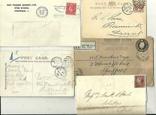 1848/1949 5 POSTAL HISTORY COVERS & CARDS TO/FROM SHEFFIELD  MILITARY REGISTERED