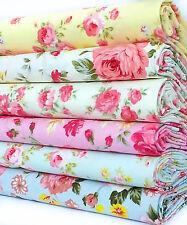ROSE FABRIC Fat Quarters BUNDLE Floral 100% COTTON CRAFT REMNANTS VINTAGE CRAFT