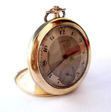 Art Deco Micron Gold 1910c Working Antique Pocket Watch Swiss Juvenia Open Face