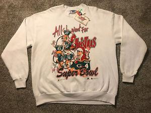 NWT VTG 1998 Mens XL Green Bay Packers Super Bowl Christmas Sweatshirt Favre