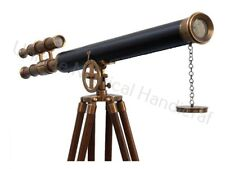 """Antique Brass With Leather Griffith Astor Telescope 39"""" With Wooden Tripod Stand"""