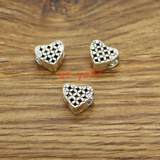 20 Heart Beads Spacer Flower Heart Large Hole European Beads Antique Silver 3252