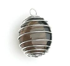 1 x A Grade Smoky Quartz Crystal Tumblestone in a Spiral Cage Pendant! 30-40mm