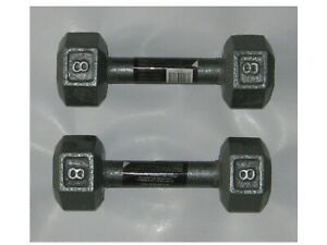 577 NWT CAP Sporting Goods Gray Hex Dumbbells 8# 8 Pounds each 16 pounds total