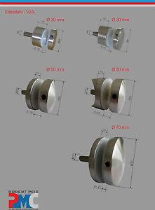 Punto de Fijación Soporte Cristal Ø 30 50 70 MM Glasvordach Escaleras V2A Acero