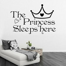 The Princess Sleep Here With Crown Kids Lettering Vinyl Decal Wall Quote Sticker