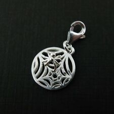 Sterling Silver Bracelet Charms-Spider Web with clasp, Add on Charm (1 pc)
