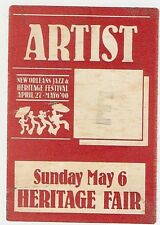 NEW ORLEANS JAZZ AND HERITAGE FESTIVAL VINTAGE ARTIST ADMISSION PASS