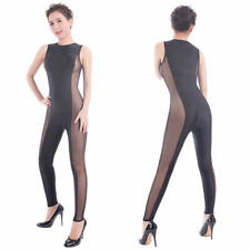 Female Sexy Sleeveless Transparent Tight Nightclub Rompers All-inclusive Catsuit