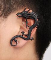 2* Gothic Punk Rock Heavy Metal Dragon Earrings Fly Dragon Ear Cuff Clip Earring