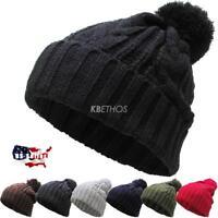 POM POM Beanie Braided Color Plain Winter Cap Skull Hat Ski Knit Warm Cuff New