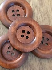 Wooden Buttons 40mm Brown Colour Pack Of 4