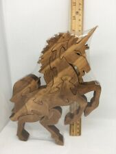 Unicorn Standing Scroll Saw Puzzle - Handmade -10 Pieces - Stained