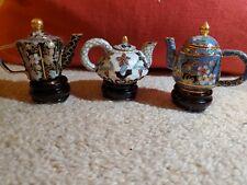 New ListingCloisonne miniature tea pots set of 3 with pedestals