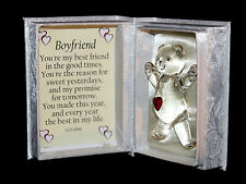 Boyfriend Personalised Poem own message Cellini Unusual Crystal GlassTeddy Bear