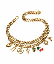 ANNA DELLO RUSSO at H&M Chain Charms Necklace AdR NWT Chunky Rhinestone Gold adr