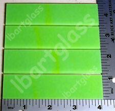 """4 - 1""""x 4"""" Green 3mm Bullseye Glass Sheet Strips 90 Coe"""
