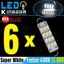 "6 PCS White Festoon 44mm 12-SMD Rigid Loop 561 562 567 564 1.73"" LED Light Bulbs"