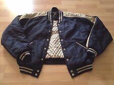 Alpha Industries Quilted Bomber Jacket Blue Tan Varsity Stripe Snap Nylon M