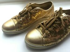 Dolce Gabbana loafers sneakers size 36 golden sequins Authentic 100%