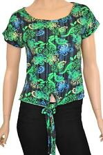 NEXT SZ 10 WOMENS Green Blue Yellow Floral Paisley Print Tie Front T-Shirt Top