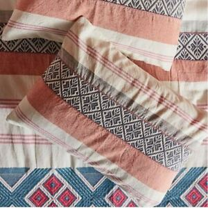 ANTHROPOLOGIE Woven Rosewood Pair of Standars Pillow Shams (2)