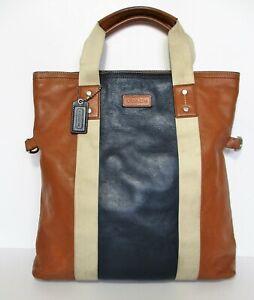 Coach Heritage Web Leather Colorblock Foldover Tote Bag F70814