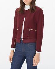 $625 Sandro Paris Veronique Crepe Layered Career Blazer Jacket Burgundy Red 6 40